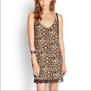 Forever 21 leopard print slip dress lace trim